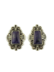 Silver Sugilite Earrings by Fritson Toledo