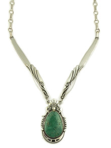 Low Mountain Turquoise Silver Necklace by Fritson Toledo (NK4351)