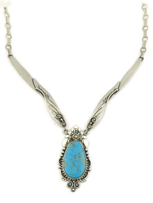 Blue Ridge Turquoise Silver Necklace by Fritson Toledo (NK4354)