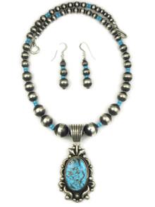 Kingman Turquoise Pendant Necklace Set by Albert Jake (NK4355)