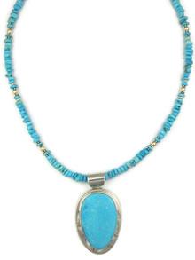 Kingman Turquoise Pendant Necklace by Phillip Sanchez (NK4357)