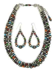 Three Strand Multi Gemstone Silver Bead Necklace Set (NK4359)