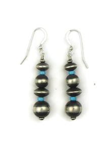 Turquoise & Silver Bead Earrings (ER5124)