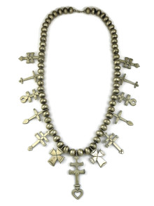 Long Silver Bead Cross Necklace by Linda Marble