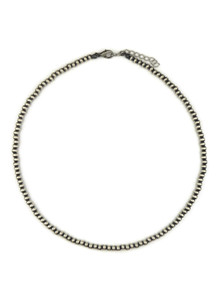 Antiqued 4mm Silver Bead Necklace with Extension Chain