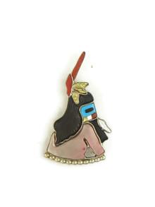 Zuni Inlay Kachina Pendant - Brooch