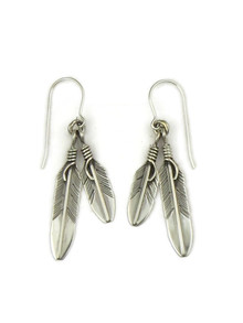 Silver Double Feather Earrings by Lena Platero