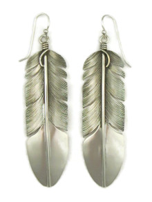 """Sterling Silver Feather Earrings 3"""" by Lena Platero (ER5132)"""
