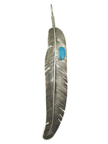 """Large Blue Ridge Turquoise Silver Feather Pendant 6 1/2"""" (PD4104)"""