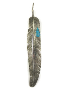 Large Turquoise Silver Feather Pendant (PD4104)