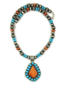 Sleeping Beauty Turquoise & Spiny Oyster Shell Necklace (NK4539)