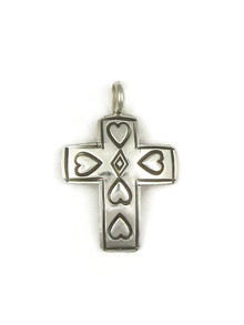 Hand Stamped Silver Cross Pendant with Hearts (PD4118)