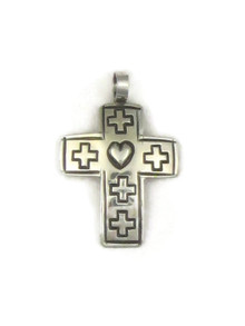 Hand Stamped Silver Cross Pendant (PD4119)