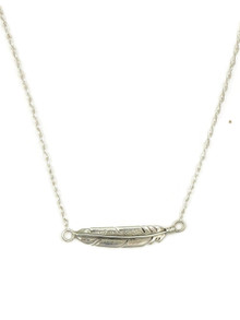 Small Silver Feather Necklace (NK4362)