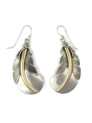 12k Gold & Sterling Silver Feather Earrings (ER5137)
