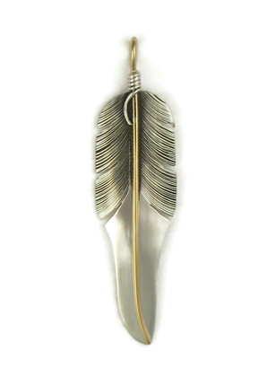 12k Gold & Sterling Silver Feather Pendant by Lena Platero (PD4115)