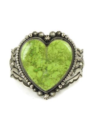 Gaspeite Heart Bracelet by Aaron Toadlena