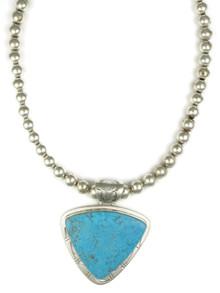 Kingman Turquoise Pendant Necklace by Phillip Sanchez (NK4548)