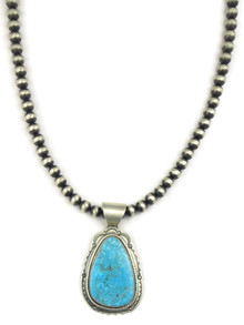 Kingman Turquoise Pendant Necklace by Joe Piaso Jr. (NK4549)