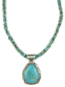 Number 8 Turquoise Pendant Necklace by Joe Piaso Jr. (NK4553)