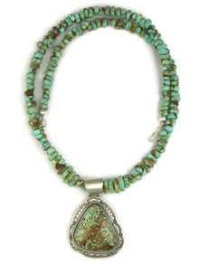 Number 8 Turquoise Pendant Necklace by Joe Piaso Jr. (NK4555)