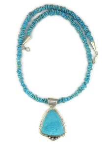 Kingman Turquoise Pendant Necklace by Lucy Valencia (NK4556)