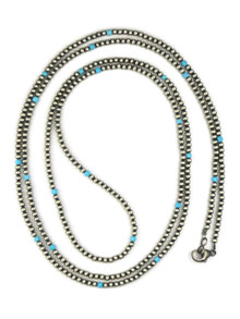 """Turquoise & Silver Bead Necklace 60"""" (NK4561)"""