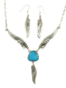 Kingman Turquoise Silver Feather Necklace Set by Fritson Toledo (NK4566)