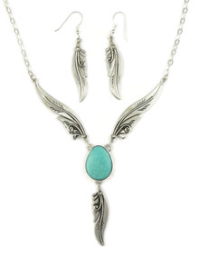 Kingman Turquoise Silver Feather Necklace Set by Fritson Toledo (NK4569)