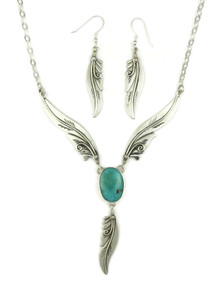 Kingman Turquoise Silver Feather Necklace Set by Fritson Toledo (NK4570)