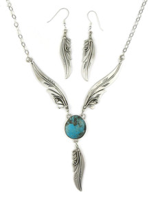 Blue Ridge Turquoise Silver Feather Necklace Set by Fritson Toledo (NK4571)