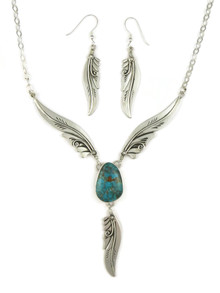 Blue Ridge Turquoise Silver Feather Necklace Set by Fritson Toledo (NK4572)