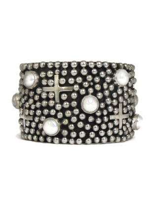 """Pearl Silver Cross Bracelet 1 1/2"""" by Ronnie Willie (BR6164)"""