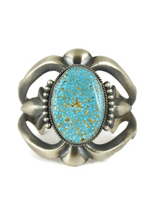 Kingman Turquoise Sand Cast Bracelet by Harrison Bitsue (BR6204)
