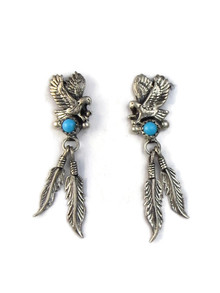 Turquoise Eagle Feather Earrings (ER5143)