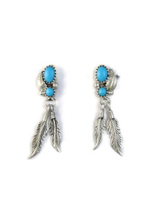Turquoise Silver Feather Earrings (ER5145)
