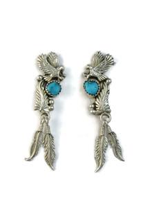 Kingman Turquoise Eagle Feather Earrings (ER5148)