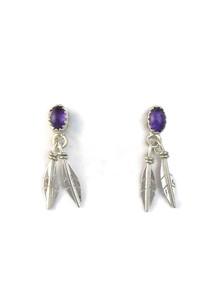 Amethyst Silver Feather Earrings (ER5154)