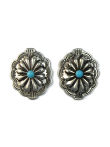 Turquoise Silver Concho Earrings (ER5151)