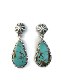 Kingman Turquoise Concho Post Earrings by Bennie Ration (ER5163)