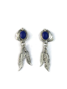 Lapis Silver Feather Earrings (ER5172)