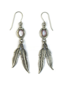 Pink Mother of Pearl Silver Feather Earrings (ER5174)