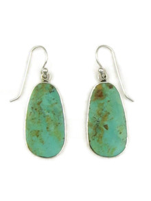 Silver Turquoise Slab Earrings by Ronald Chavez (ER5195)