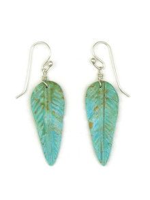 Turquoise Feather Slab Earrings by Ronald Chavez (ER5196)