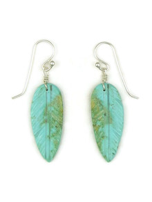 Turquoise Feather Slab Earrings by Ronald Chavez (ER5198)