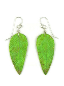 Green Turquoise Feather Slab Earrings by Ronald Chavez (ER5203)