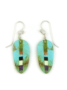 Turquoise Inlay Feather Slab Earrings by Ronald Chavez (ER5204)
