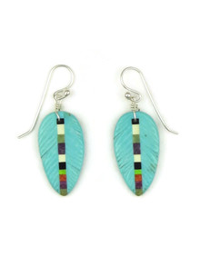 Turquoise Inlay Feather Slab Earrings by Ronald Chavez (ER5205)