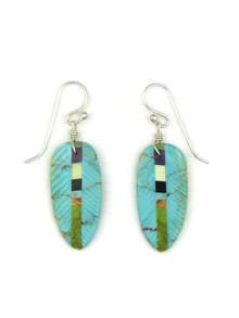 Turquoise Gemstone Inlay Feather Slab Earrings by Ronald Chavez (ER52016)