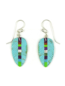 Turquoise Gemstone Inlay Feather Slab Earrings by Ronald Chavez (ER5207)